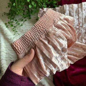 Crushed Velvet Pleated Skirt